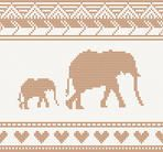 knitted pattern with elephant seamless vector illustration. Christmas concept for banner, placard, billboard or web site. New Year retro greeting card and background. Image for invitation