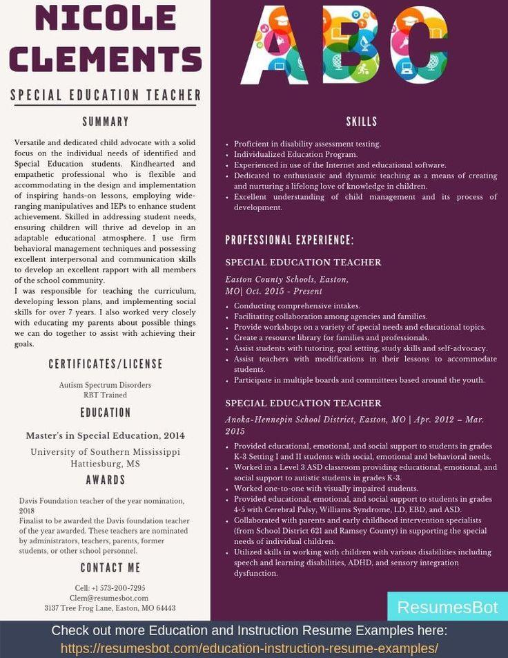 Special education teacher resume samples templates pdf