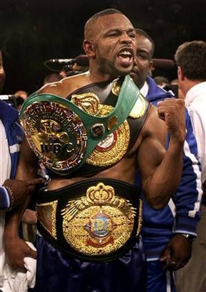 Roy Jones, Jr. (born January 16, 1969) captured numerous world titles in the middleweight, super middleweight, light heavyweight and heavyweight divisions. He is the only boxer in history to start his career as a light middleweight (154 lbs) and go on to win a heavyweight title. Jones left his mark in boxing history when he won the WBA Heavyweight title, becoming the first former middleweight champion to win a heavyweight title in 106 years.