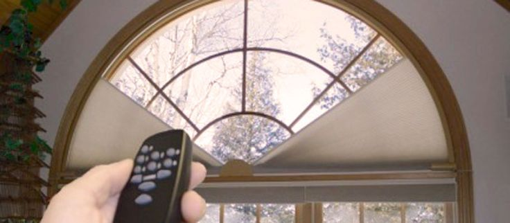 Best 25 half circle window ideas on pinterest villa for Motorized arch window treatments