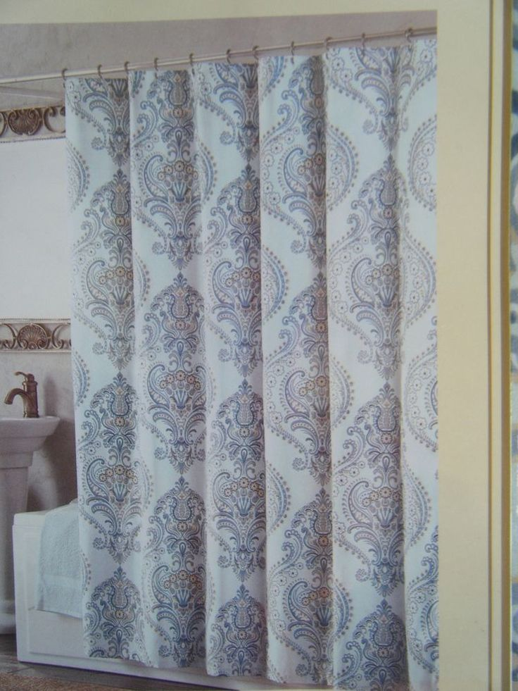 Domain Blue Paisley Cloth Shower Curtain Cotton Polyester 72 X