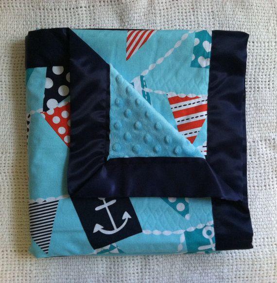 Nautical Baby Blanket- Nautical Blanket- Minky Baby Blanket- Satin Trimmed Blanket- Baby Blanket- Teal Blanket on Etsy, $55.00