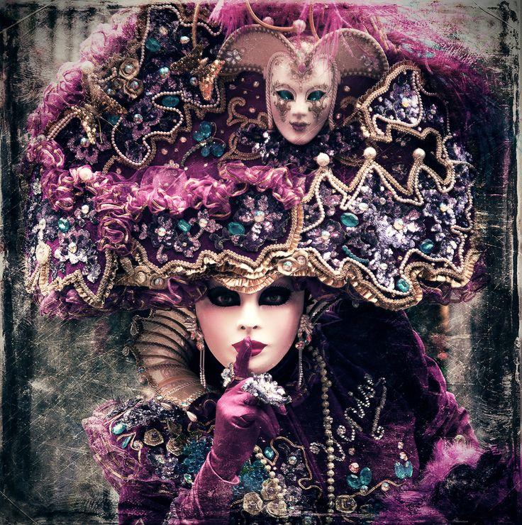 Venice Carnival. Venice, Italy. Purple, teal, pink, lavender, lilac.