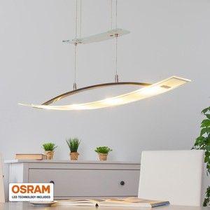 Aanlokkelijke woonkamerverlichting: LED-hanglamp MirkaDe LED-hanglamp Mirka zweeft elegant boven de eettafel waar ze een elegante lichtheid verspreidt. De kap van de lamp bestaat uit een zacht gedraaid element van grotendeels gesatineerd glas. Enkel de rand van het glas is helder waardoor er een prachtig lichteffect ontstaat aangezien het licht van de geïntegreerde Osram merk-LED's gebroken wordt. Met een trekpendel kan Mirka individueel in de hoogte versteld worden. Met een lichtstroom…
