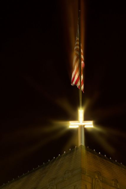 The Cross and American Flag~Gorgeous Photo!