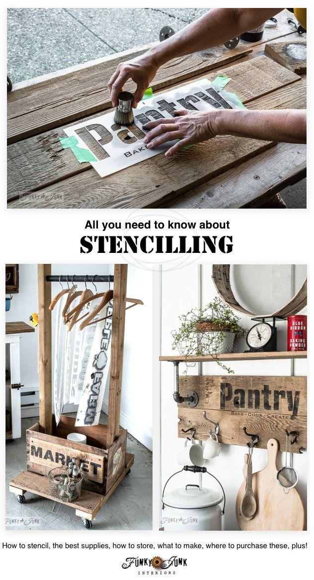 Tudo que você precisa saber sobre stencilling - como stencil, os melhores suprimentos, como armazenar, o que fazer, onde comprar, mais!  Apresentando Stencils Velho Sinal em funkyjunkinteriors.net