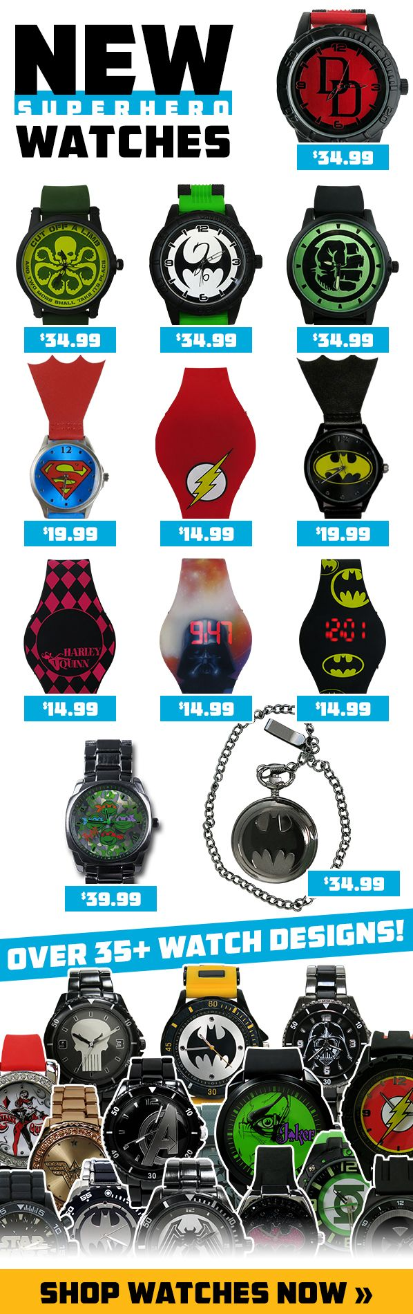 NEW STUFF: Keep track of the time like a hero, a Superhero, with one of these watches! Just make sure to take it off before you start serving justice, you wouldn't want to break it: http://www.superherostuff.com/superhero-watches.html?sortby=new