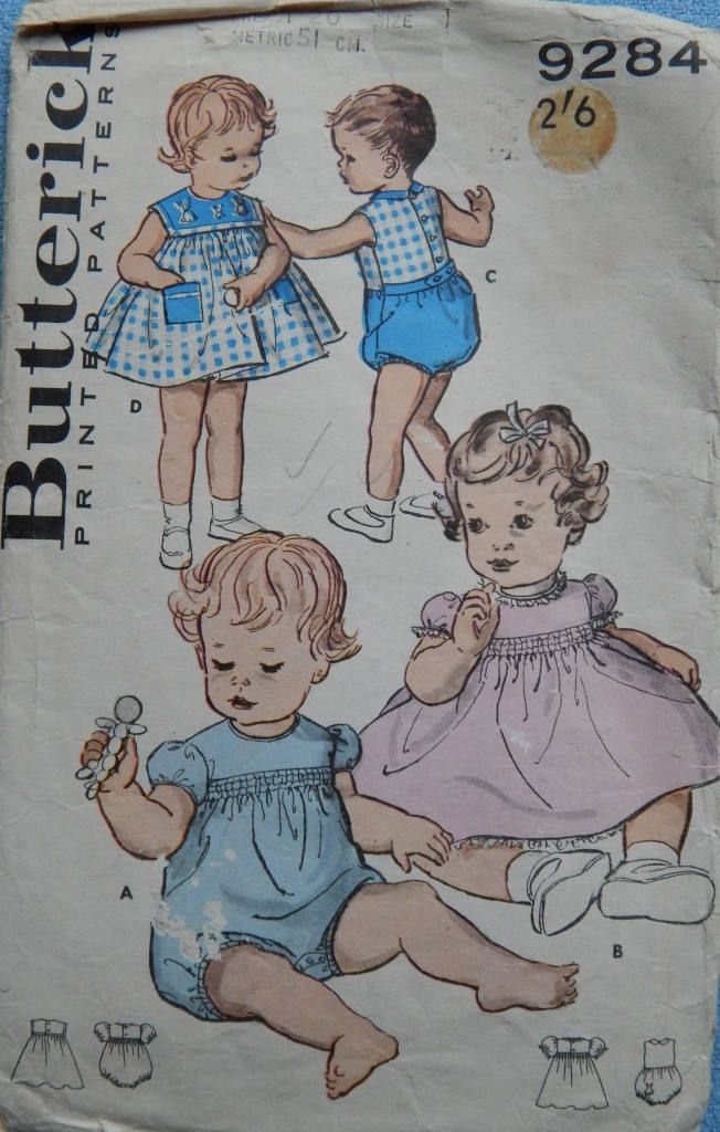 "1950s Rare Vintage Butterick Pattern #9284 Toddler's Romper and Dress Size 1 Brest 20"" by chicpatternstudio on Etsy"