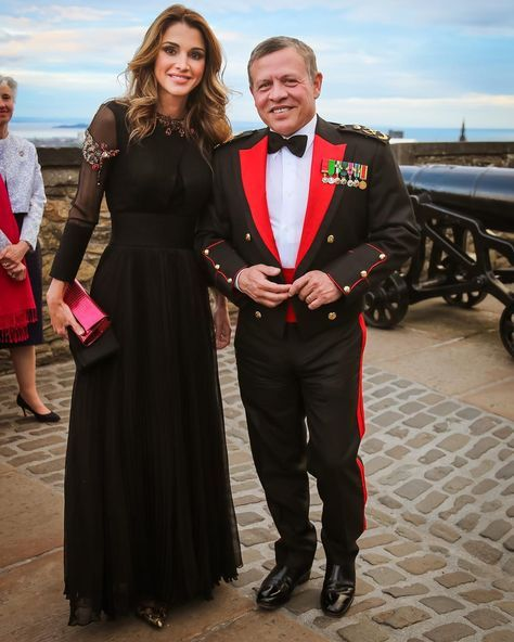 Jordan's King Abdullah II and Queen Rania attend the 2016 Royal Edinburgh Military Tattoo as guests of honour at the Edinburgh Castle on 6 August, 2016.
