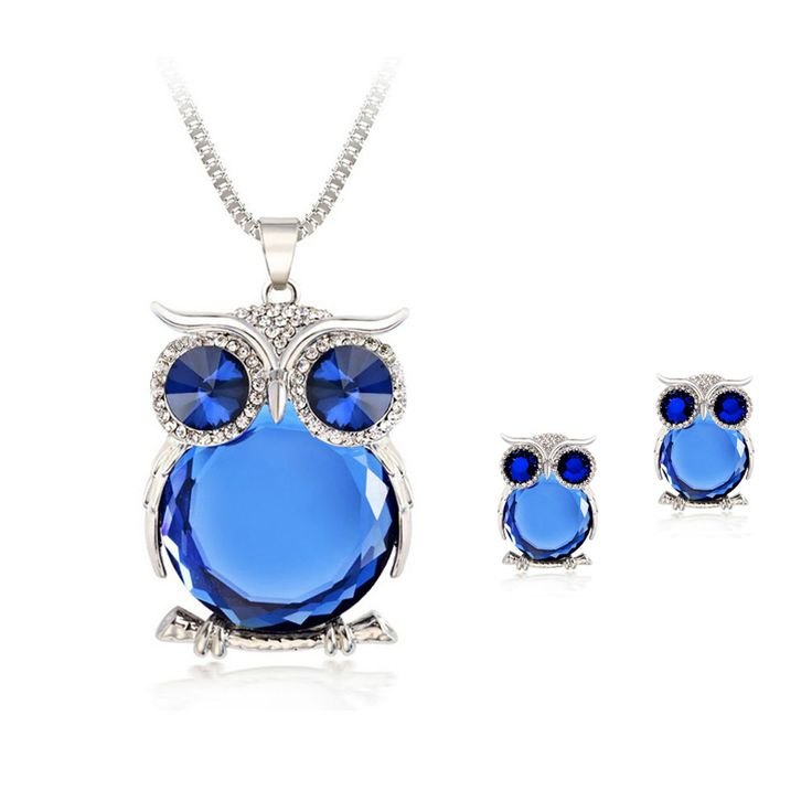 8 Colors Trendy Owl Jewelry Sets Fashion Rhinestone Crystal Jewelry Statement Women Gold Silver Chain Necklace And Earrings  [Affiliate]