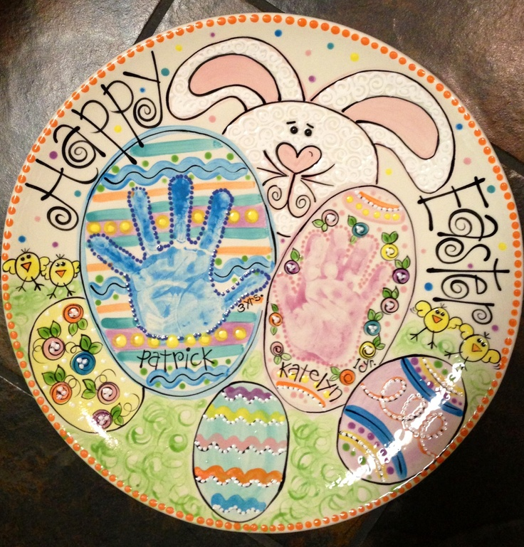 Happy Easter Plate. Pottery Painting IdeasPottery ...  sc 1 st  Pinterest & 531 best Footprints u0026 Handprints images on Pinterest | Paint ...