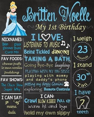 Birthday Chalkboard Poster Sign • Cinderella Theme • Free economy shipping • Fast turnaround time • Great customer service • These birthday boards are custom, high resolution digital files that are personalized for each customer upon order