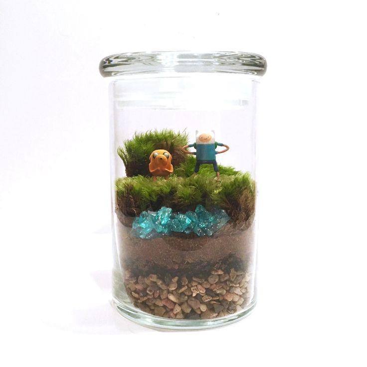 Adventure Time Inspired Terrarium // Mini Finn & Jake by ForTheLoveOfPop on Etsy https://www.etsy.com/listing/253631453/adventure-time-inspired-terrarium-mini