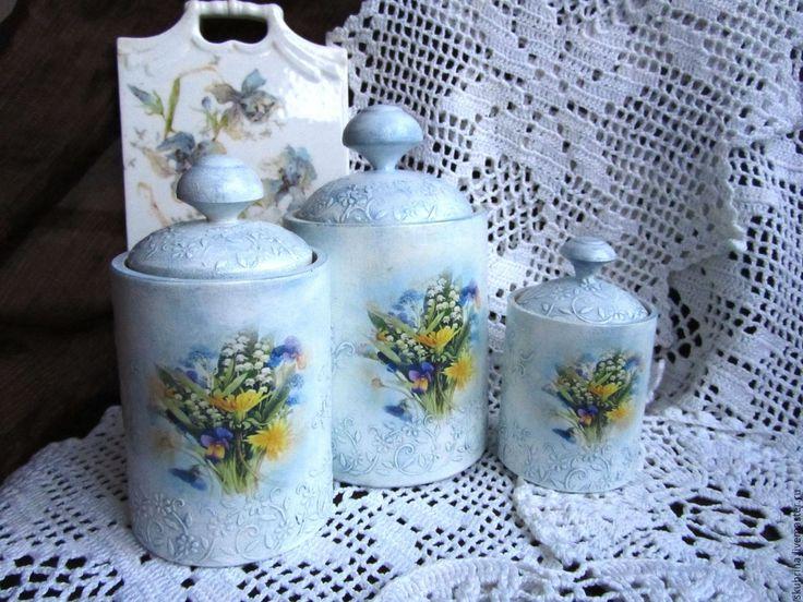 """Купить Баночки """"Лесные цветы"""" для хранения в ванной комнате, декупаж - голубой, для хранения, для ванной комнаты"""