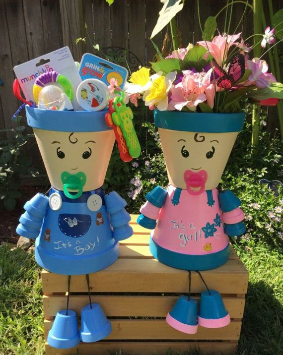 Ses un garçon sa un fille Unique présente Baby shower maîtresse nouveau bébé Pot les gens à la main peint poterie jardinière enceinte nouvelle maman douche