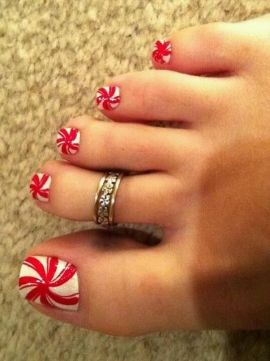Candy red white toes| I think this would be so cute for Christmas!