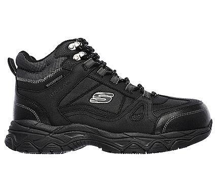 Skechers Work Men's Ledom Waterproof Steel Toe Work Boots (Black)
