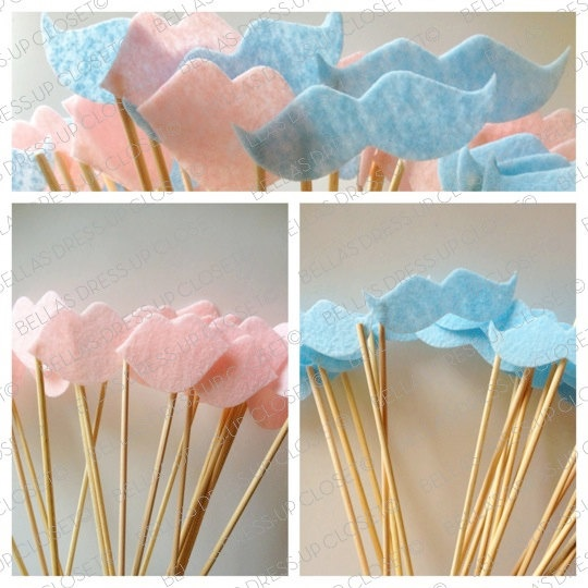 Rachel's Shower: 12 Baby Gender Reveal Party Mustaches and Lips on a Stick Party Photo Props. $15.95, via Etsy.