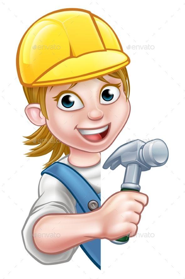 Cartoon Woman Builder Carpenter Background Banners Builder