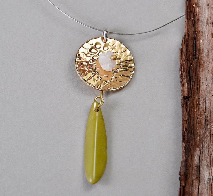 Hammered pendant necklace, long gold necklace, green stone necklace, tagua jewelry, moonstone pendant, circle tumbaga, minimal necklace by ColorLatinoJewelry on Etsy