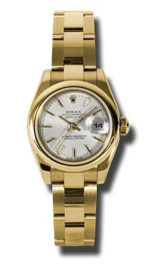 Rolex Datejust Silver Dial Automatic Yellow Gold Ladies Watch on sale.  $15862.00  #RolexWatches