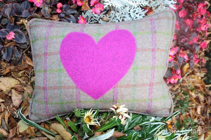 Totally Tartan - Mauve Mix Heart Tartan Cushion, £54.00 (http://www.totallytartan.net/mauve-mix-heart-tartan-cushion/)