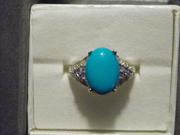 Sleeping Beauty Turquoise (3.75cts) Tanzanite & White Topaz ring sz 9 #SolitairewithAccents