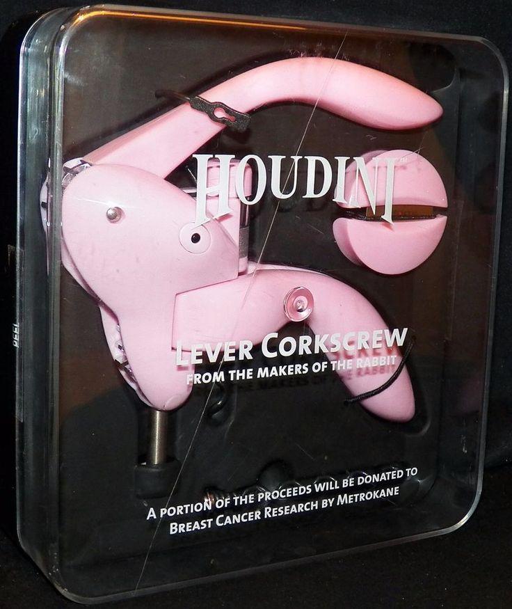 Metrokane Houdini Pink Lever Corkscrew Bar Wine Bottle Opener Foil Cutter  #Houdini