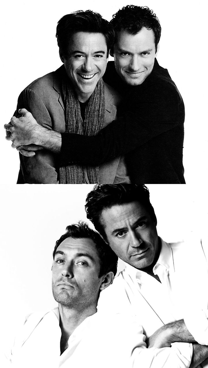 Robert Downey Jr and Jude Law (Sherlock and Watson - MADE for each other, clearly...)