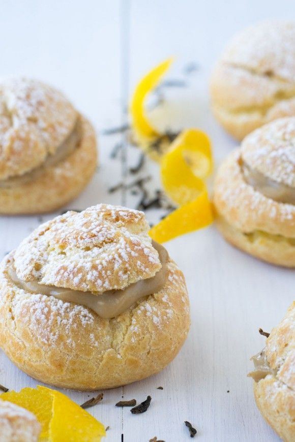 """Bignè all'arancia e tè Earl Grey [Nuovo Guest Post by Maria Siriano del blog """"#Sift&Whisk""""] -   New #GuestPost #recipe on OPSD blog: Orange and Early Grey Cream Puffs by Maria Siriano """"Sift & Whisk"""" blog #foodblog"""