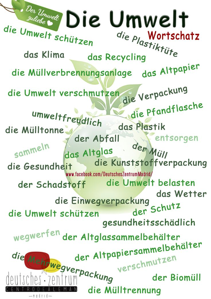 Umwelt Deutsch Wortschatz Vocabulario DAF German Alemán Medio ambiente