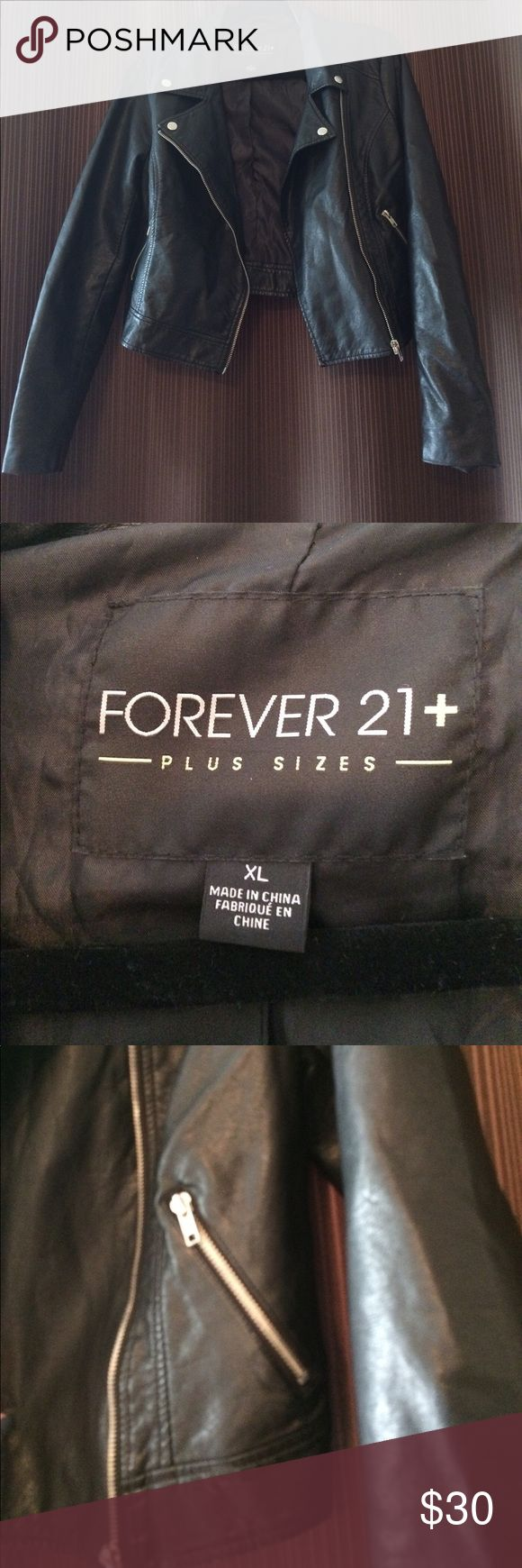 Forever 21 - Plus Size XL Faux Leather Jacket Forever 21 - Plus Size XL Faux Leather Jacket. This jacket has been worn before, but has no major flaws. It is super cute and can be worn in a very of settings! Smoke free clean home. Forever 21 Jackets & Coats Utility Jackets