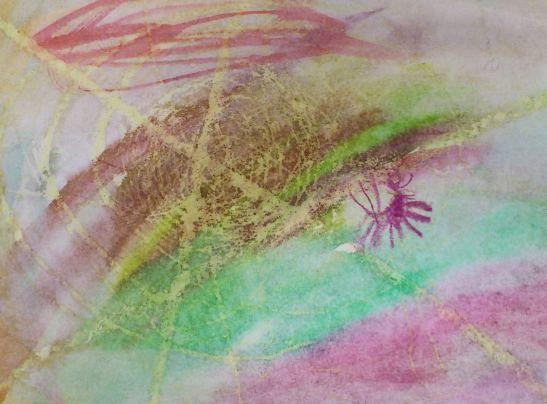 kväiset hämähäkin verkot, öljypastellit ja märkää märälle-tekniikka vesiväreillä