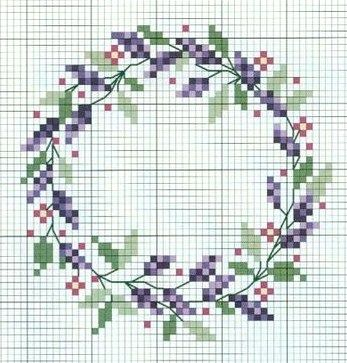 cross stitch lavender, would work with an initial or a word in the center
