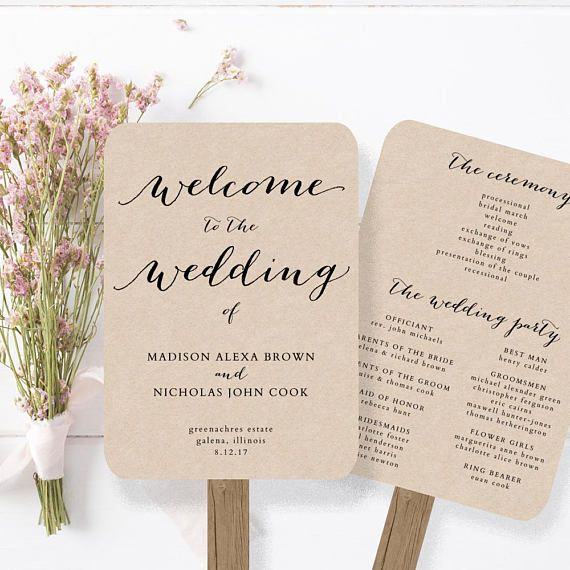 """This wedding program fan template is available for instant download as a .docx file. Edit with your own details in MS Word. Color editable. 5""""x7"""" and 5.5x8.5"""" versions included. ***The background of the design is transparent – print on kraft card for a kraft background, print"""