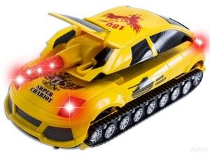 WolVol Electric Transformers Car / Shooting Tank Toy Bump and Go Action, runs on smooth surfaces. While riding it will change from a car to a shooting tank toy. LED Flashing Ligh3 AA batteries required (not included). Recommended Gift for 3 Year Olds and up. http://awsomegadgetsandtoysforgirlsandboys.com/wolvol/ WolVol Electric Transformers Car / Shooting Tank Toy