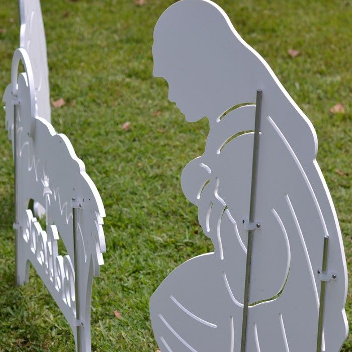 Believe Holy Family Outdoor Nativity Set - Rear View