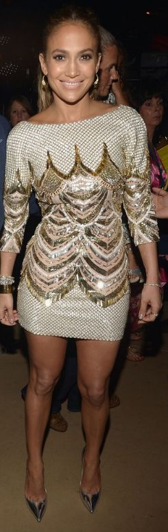 Who made Jennifer Lopez's gold sequin dress and silver pumps that she wore in Miami on July 18, 2013?