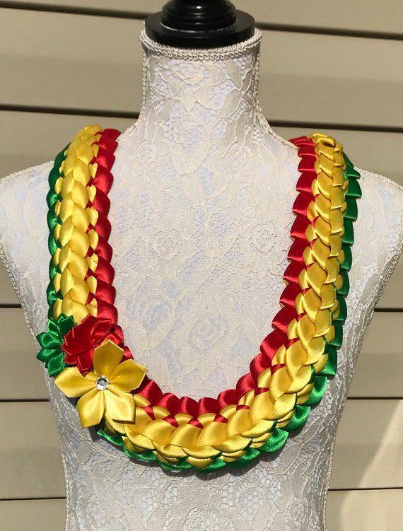 Graduation Lei Green, Yellow, Red Ribbon Lei Satin Ribbon Lei School Spirit Lei Hawaiian Lei Bridal
