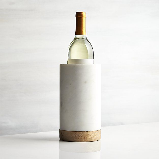 Wood and Marble Wine Cooler | Crate and Barrel