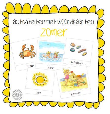 Kleuterjuf in een kleuterklas: Activiteiten met woordkaarten | Thema ZOMER