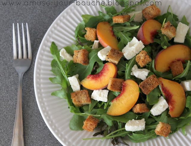 Peach And Mozzarella Rocket Salad With Balsamic And Homemade Croutons