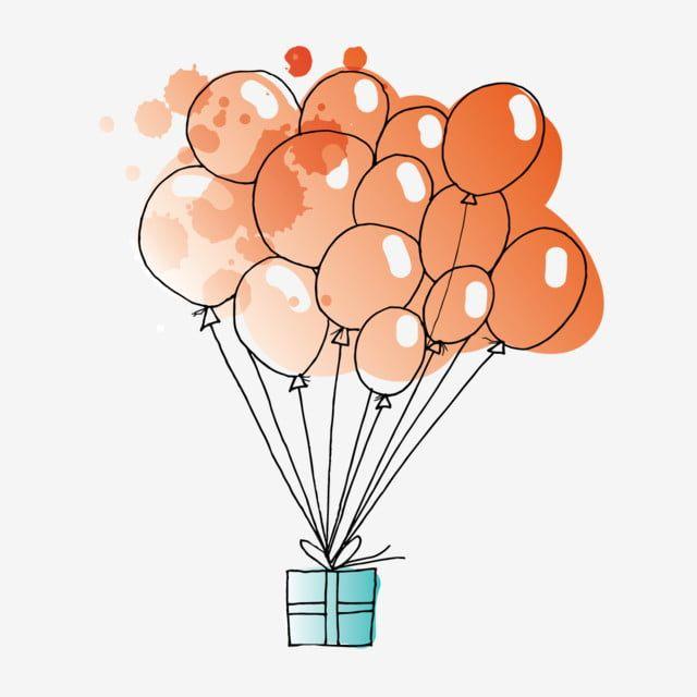 هدية عيد ميلاد بالونات مرسومة باليد حفل هدية مجانية صندوق Png والمتجهات للتحميل مجانا Baby Greeting Cards Art Drawings Sketches Simple Geometric Drawing
