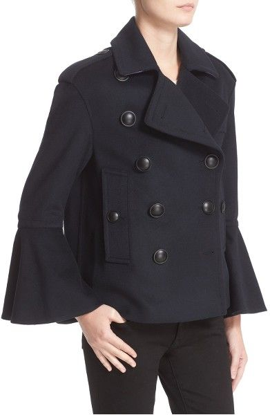 Main Image - Burberry Juliette Townhill Double Breasted Peacoat