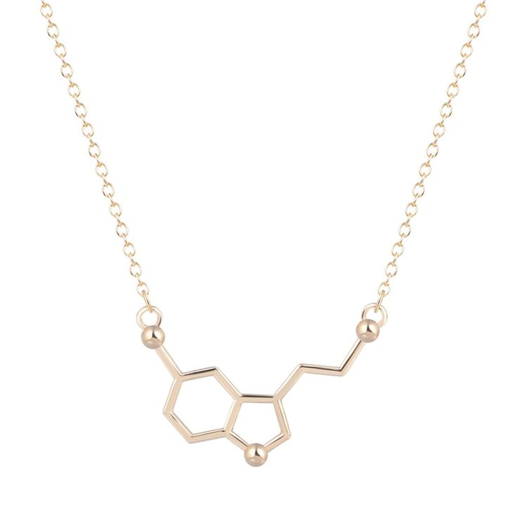 New 1pcs Serotonin Molecule Chemistry Necklace Unique Pendant Necklace Minimalist Jewelry Gift For Girls and Ladies //Price: $4.99 & FREE Shipping //     #hashtag1