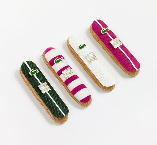 Pour son 80ème anniversaire, Lacoste fait appel à la maison Fauchon pour concevoir une collection d'éclairs haute couture en édition limitée. Les éclairs Crocodiles Fauchon s'habillent de vert, de magenta et de blanc, et se déclinent en 4 créations gourmandes : thé vert, amande, vanille & citron, et fraise.
