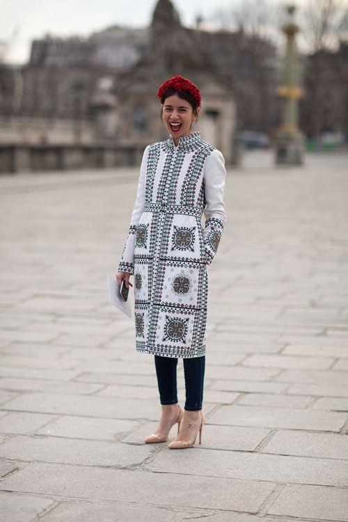 VALENTINO AND A SMILE :) Paris Street Style Fall 2013 - Paris Fashion Week Style Fall 2013 - Harper's BAZAAR