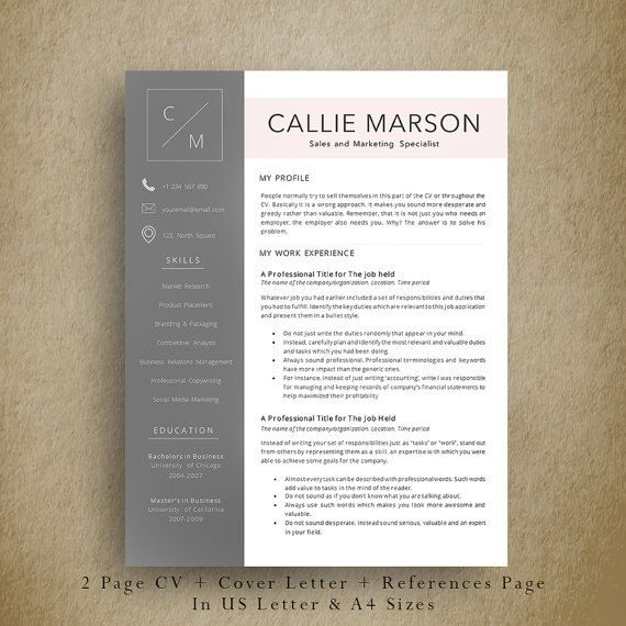 Multipurpose & Professional Resume Template + Cover Letter + Additional Refernces Page. Easy and Fun to Edit Professional CV Template by AvataDesigns