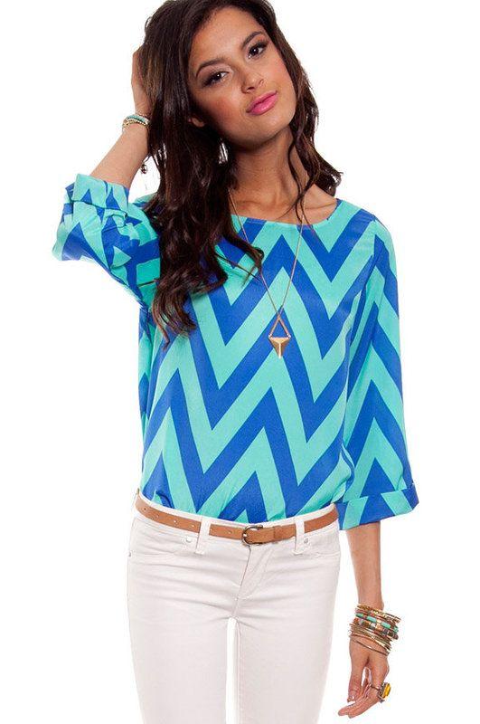 Chevy Blouse: Style, Dream Closet, Chevron Pattern, Outfit, Blue Chevron, Chevron Tops, Bright Colors