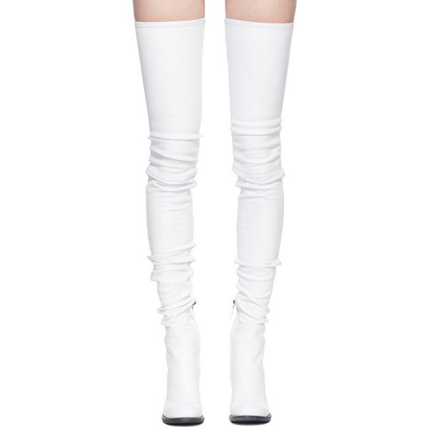 White leather boots, Stretch thigh high